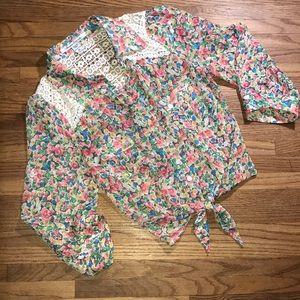 American Rag Sheer Floral Tie Front Blouse